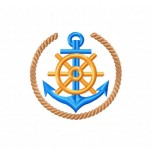 Ship anchor machine embroidery design