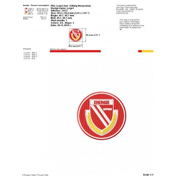 Energie Cottbus FC logo machine embroidery design for instant download