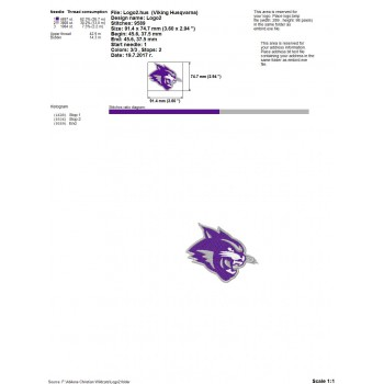 Abilene Christian Widcats logo machine embroidery design for instant download