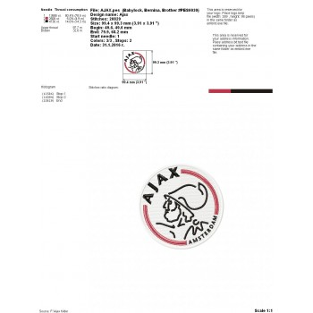 Ajax Amsterdam logo machine embroidery design for instant download