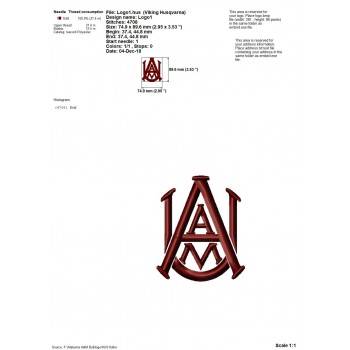 Alabama A and M Bulldogs logo machine embroidery design for instant download