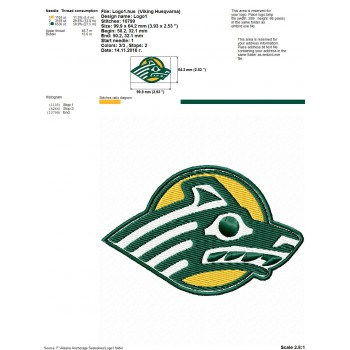 Alaska Anchorage Seawolves logo machine embroidery design for instant download