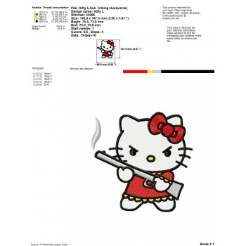 Angry Hello Kitty machine embroidery design for instant download