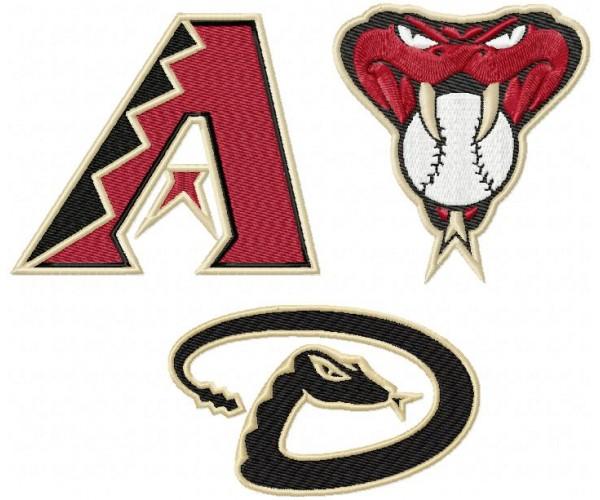 Arizona Diamondbacks 3 Logos Machine Embroidery Design