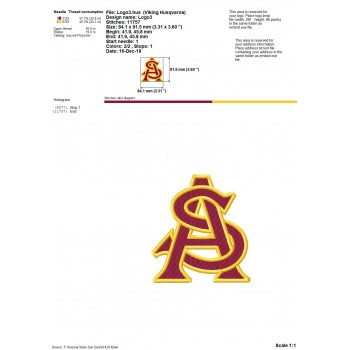 Arizona State Sun Devils logos machine embroidery design for instant download