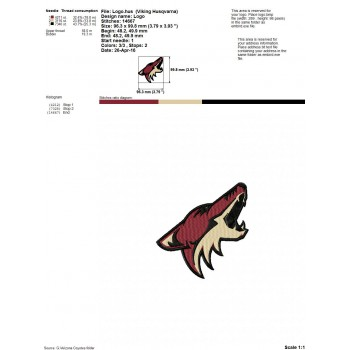 Arizona Coyotes logo machine Embroidery Design for instant download