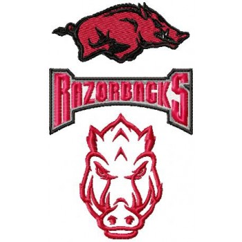 Arkansas Razorbacks logos pack machine embroidery design for instant download