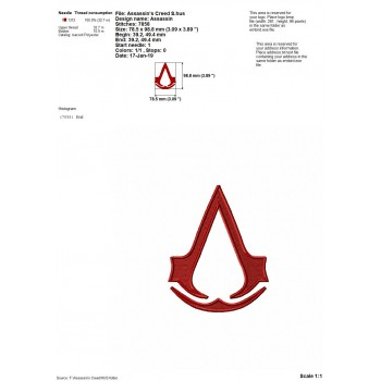 Assassin's Creed logo machine embroidery design for instant download