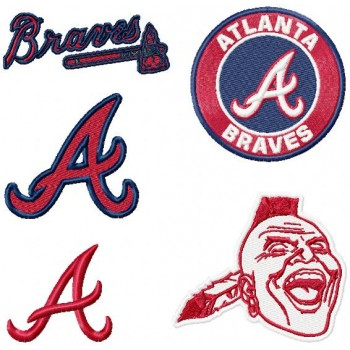 Atlanta Braves logo machine embroidery design for instant download