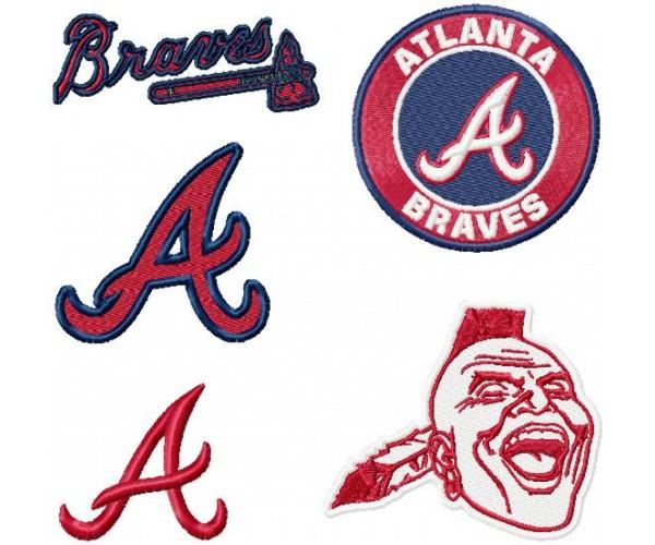 atlanta braves logo machine embroidery design for instant download