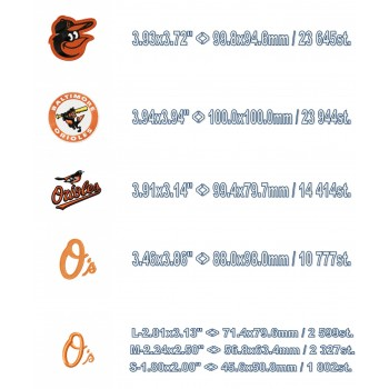 Baltimore Orioles 5 Logos Machine Embroidery Design for instant download