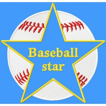 Baseball star machine embroidery design for instant download