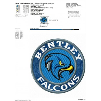 Bentley Falcons logos machine embroidery design for instant download