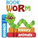 Bookworm emoticon machine embroidery design for instant download