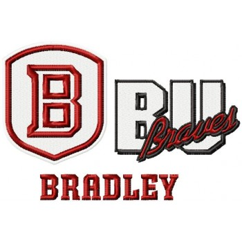 Bradley Braves logos machine embroidery design for instant download