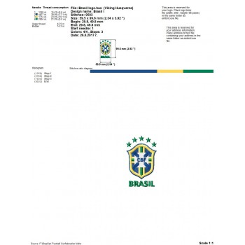 Brazilian Football Confederation logo machine embroidery design for instant download