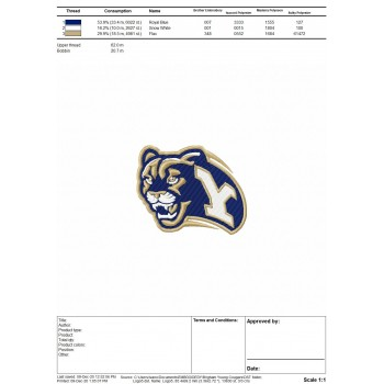 Brigham Young Cougars logo machine embroidery design for instant download