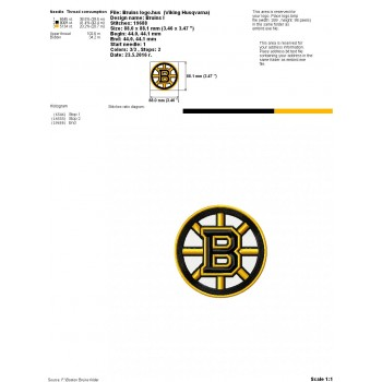 Boston Bruins logo machine embroidery design for instant download