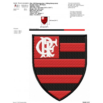 CR Flamengo logo machine embroidery design for instant download