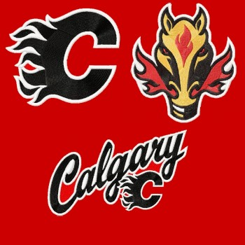 Calgary Flames 3 logos machine embroidery design for instant download