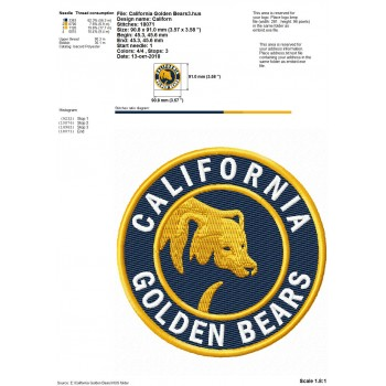 California Golden Bears logos machine embroidery design for instant download