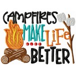Campfires machine embroidery design for instant download