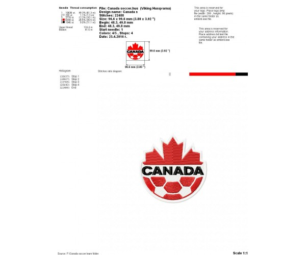 Canada Coccer Team Logo Machine Embroidery Design For