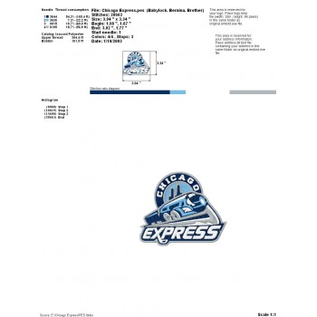 Chicago Express logos machine embroidery design for instant download