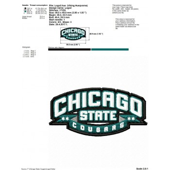 Chicago State Cougars logo machine embroidery design for instant download