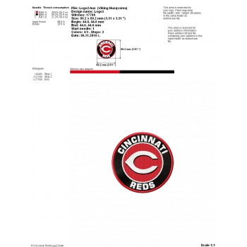 Cincinnati Reds logo machine embroidery design for instant download