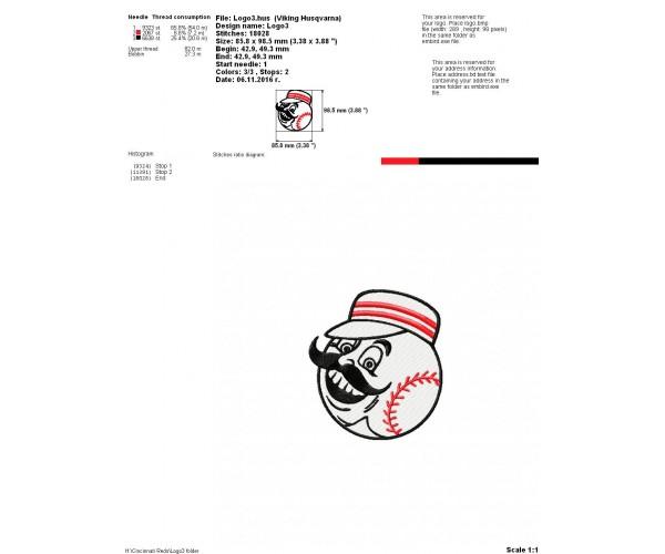 Cincinnati Reds Logo Machine Embroidery Design For Instant Download