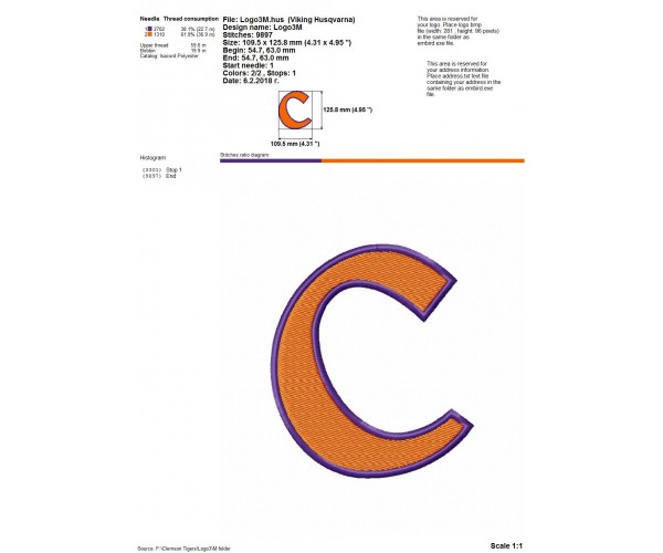 Clemson Tigers logo machine embroidery design for instant download