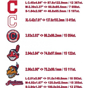 Cleveland Indians logo machine embroidery design for instant download