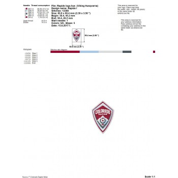 Colorado Rapids FC logo machine embroidery design for instant download