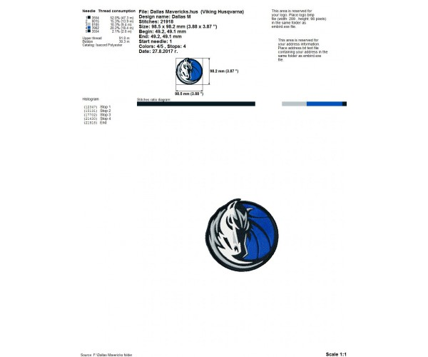 Dallas Mavericks Logo Machine Embroidery Design For Instant Download