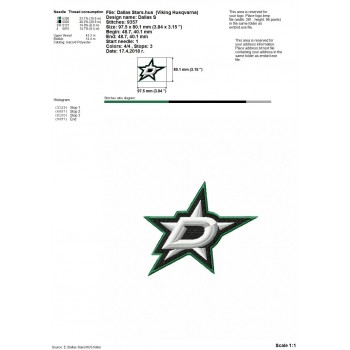Dallas Stars logo machine embroidery design for instant download