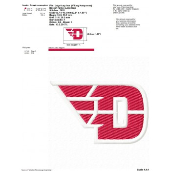 Dayton Flyers logo machine embroidery design for instant download