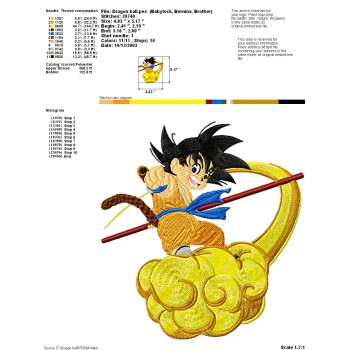 Dragon ball Z machine embroidery design for instant download