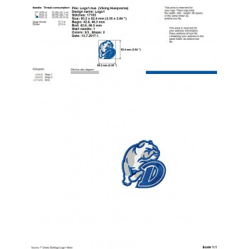 Drake Bulldogs logos machine embroidery design for instant download