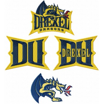 Drexel Dragons logos machine embroidery design for instant download