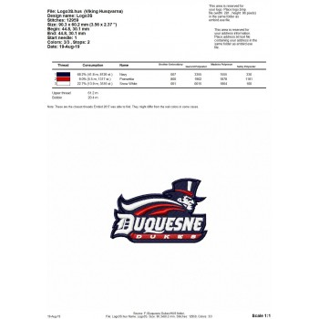Duquesne Dukes logo machine embroidery design for instant download