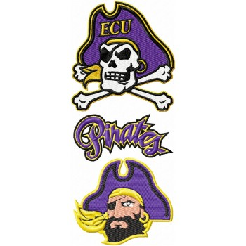 East Carolina Pirates logos machine embroidery design for instant download