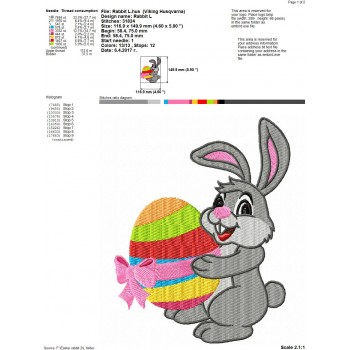 Easter rabbit machine embroidery design for instant download