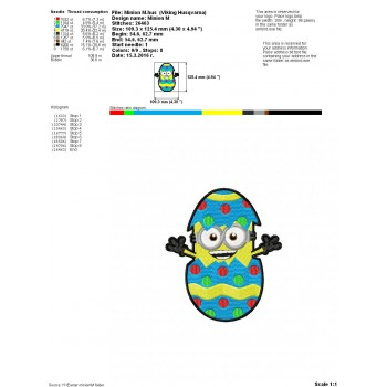 Easter minion machine embroidery design for instant download