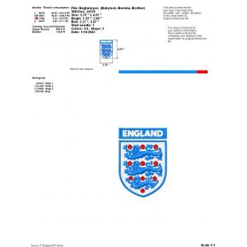 England Logo Emblem Machine Embroidery Design for instant download