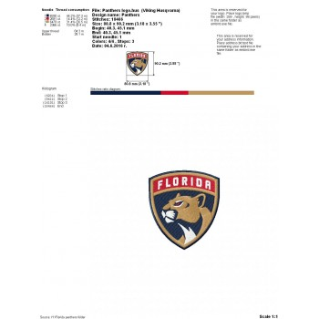 Florida Panthers logo machine embroidery design for instant download