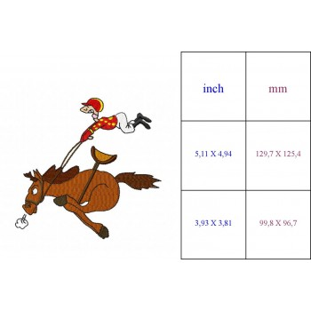 Flying Jockey Machine Embroidery Design for instant download