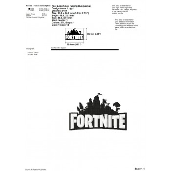 Fortnite logo machine embroidery design for instant download