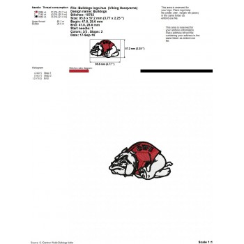 Gardner- Webb Bulldogs logo machine embroidery design for instant download