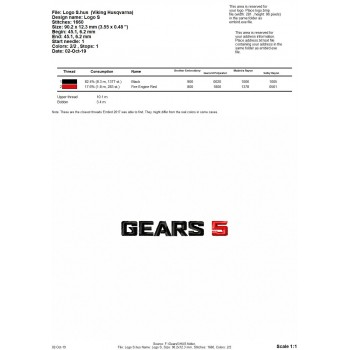Gears 5 logo machine embroidery design for instant download